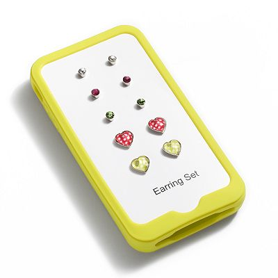 Silver Tone Simulated Crystal Stud Earring and iPhone Case Set