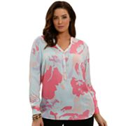 daisy fuentes Watercolor Henley - Women's Plus