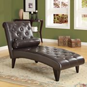 Monarch Faux-Leather Chaise Lounger