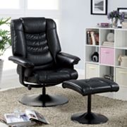 Monarch Faux-Leather Reclining Chair with Ottoman
