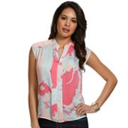 daisy fuentes Watercolor Pleated Top - Petite