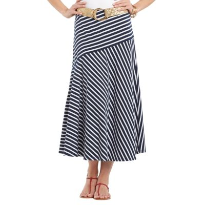 Chaps Striped A-Line Maxi Skirt
