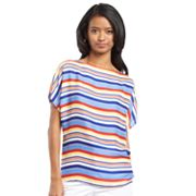 Chaps Striped Dolman Top