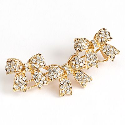 LC Lauren Conrad Gold Tone Simulated Crystal Bow Hair Pin