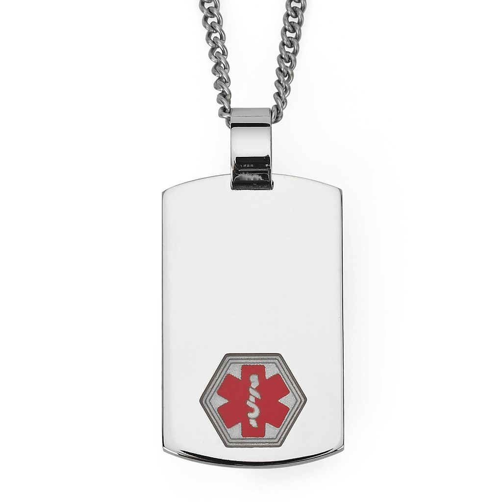 Men's Stainless Steel Medical Alert ID Dog Tag