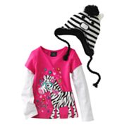 Self Esteem Mock-Layer So Pretty Zebra Top and Zebra Knit Hat Set - Girls 4-6x