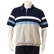 Safe Harbor Chest-Pieced French Terry Banded-Bottom Polo - Big and Tall