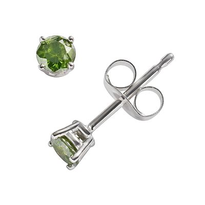 10k White Gold 1/4-ct. T.W. Green Round-Cut Diamond Solitaire Stud Earrings