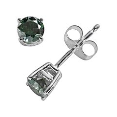 10k White Gold 1/2 ctT.W. Green Round-Cut Diamond Solitaire Stud Earrings