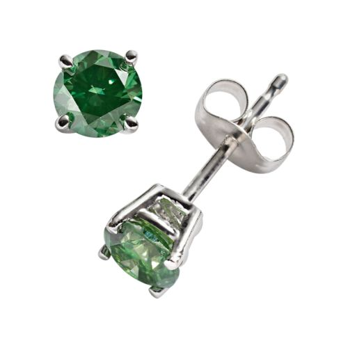 10k White Gold 1-ct. T.W. Green Round-Cut Diamond Solitaire Stud Earrings