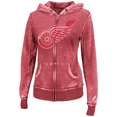 Majestic Detroit Red Wings Delayed Call Burnout Fleece Hoodie - Women