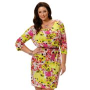daisy fuentes Floral Shift Dress - Women's Plus