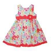 Blueberi Boulevard Floral Dot Dress - Girls 4-6x