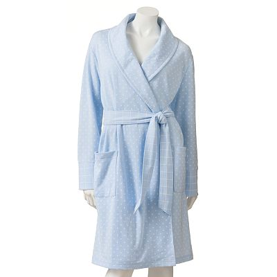 Croft and Barrow Printed Pointelle Short Wrap Robe