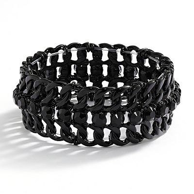 Apt. 9 Black Studded Openwork Stretch Bracelet