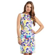 Chaps Floral Sateen Sheath Dress