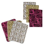 Trend Lab Animal Print Flannel Blanket and Burp Cloth Set