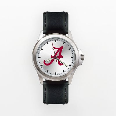 LogoArt Alabama Crimson Tide Silver Tone Leather Watch - UAL137 - Men