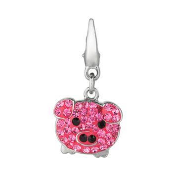 Sterling Silver Crystal Pig Charm