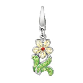Sterling Silver Crystal Flower Charm
