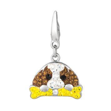 Sterling Silver Crystal Dog & Bone Charm