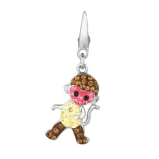 Sterling Silver Crystal Monkey Charm