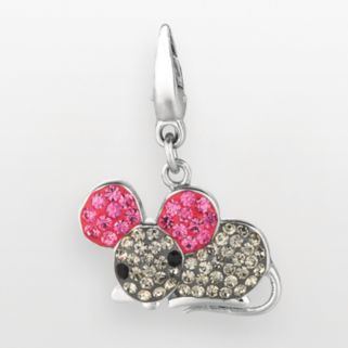 Sterling Silver Crystal Mouse Charm