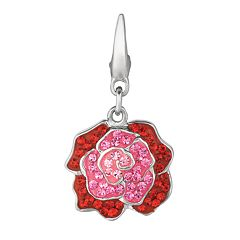 Sterling Silver Crystal Rose Charm