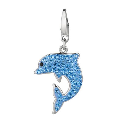 Sterling Silver Crystal Dolphin Charm