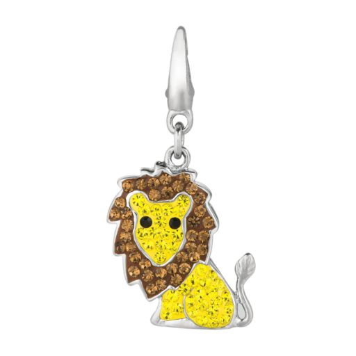 Sterling Silver Crystal Lion Charm