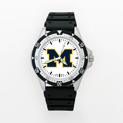 LogoArt Michigan Wolverines Silver Tone Resin Watch - UM135