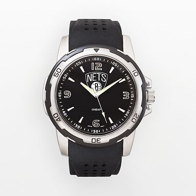 Booklyn Nets Silver Tone Black Silicone Watch