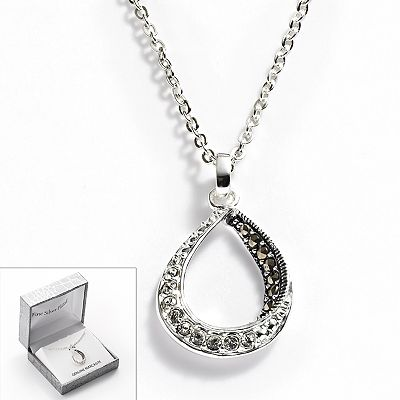 Silver Plated Crystal and Marcasite Teardrop Pendant