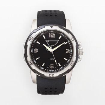 St. Louis Blues Silver Tone Black Silicone Watch