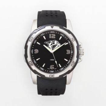 Nashville Predators Silver Tone Black Silicone Watch
