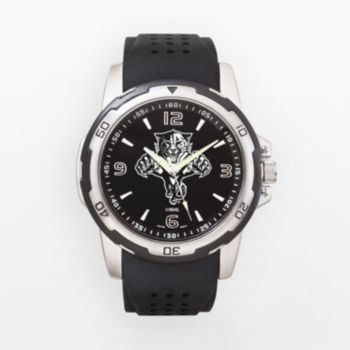 Florida Panthers Silver Tone Black Silicone Watch