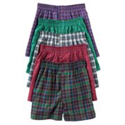 Fruit of the Loom 5-pk. Tartan Boxers - Boys 4-20
