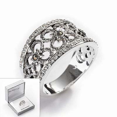 Silver Plated Crystal and Marcasite Flower Openwork Ring