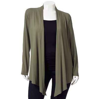 Dana Buchman Solid Open-Front Cardigan - Women's Plus