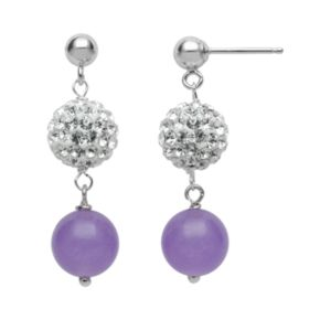 Sterling Silver Simulated Crystal and Lavender Jade Ball Linear Drop Earrings