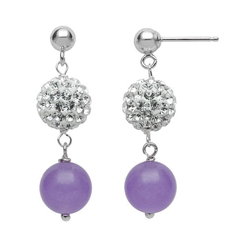 Sterling Silver Simulated Crystal & Lavender Jade Ball Linear Drop Earrings