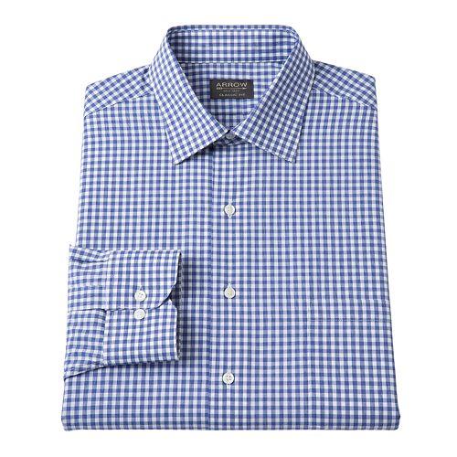 Arrow Classic-Fit Checked Spread-Collar Dress Shirt