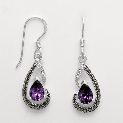 Silver Plated Cubic Zirconia, Crystal, and Marcasite Teardrop Earrings