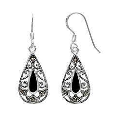 Silver Plated Onyx & Marcasite Filigree Teardrop Earrings