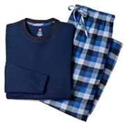 Hanes Waffle-Weave Tee and Plaid Flannel Lounge Pants Set