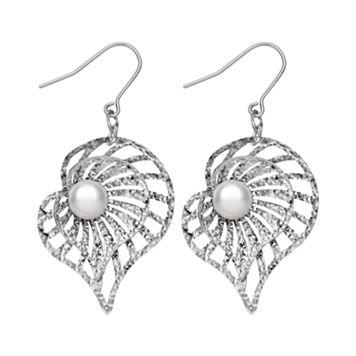Sterling Silver Freshwater Cultured Pearl Shell Drop Earrings
