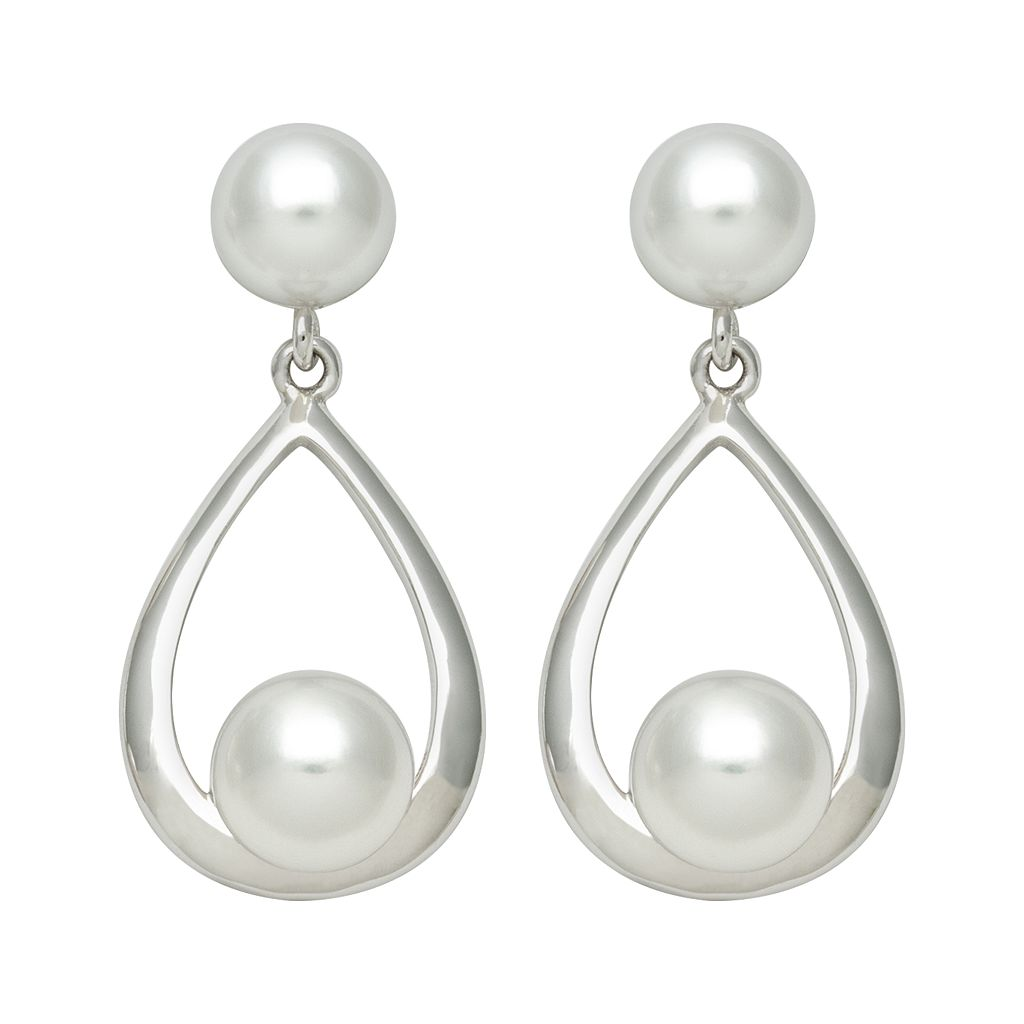 Sterling Silver Freshwater Cultured Pearl Teardrop Earrings