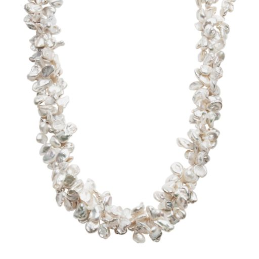 Sterling Silver Freshwater Cultured Keshi Pearl Necklace