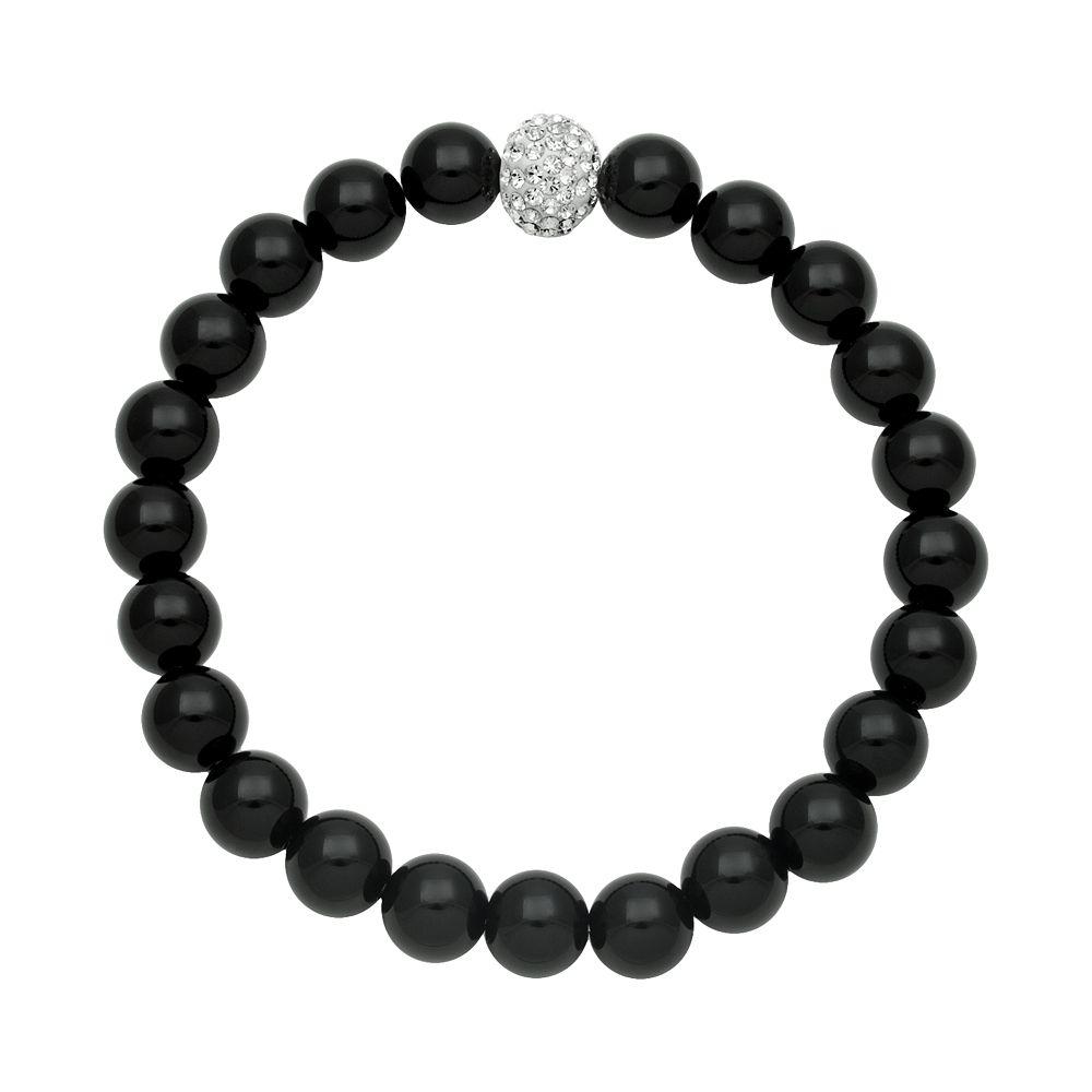 Onyx Bead & Simulated Crystal Stretch Bracelet