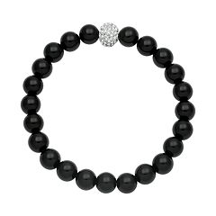 Onyx Bead & Simulated Crystal Stretch Bracelet